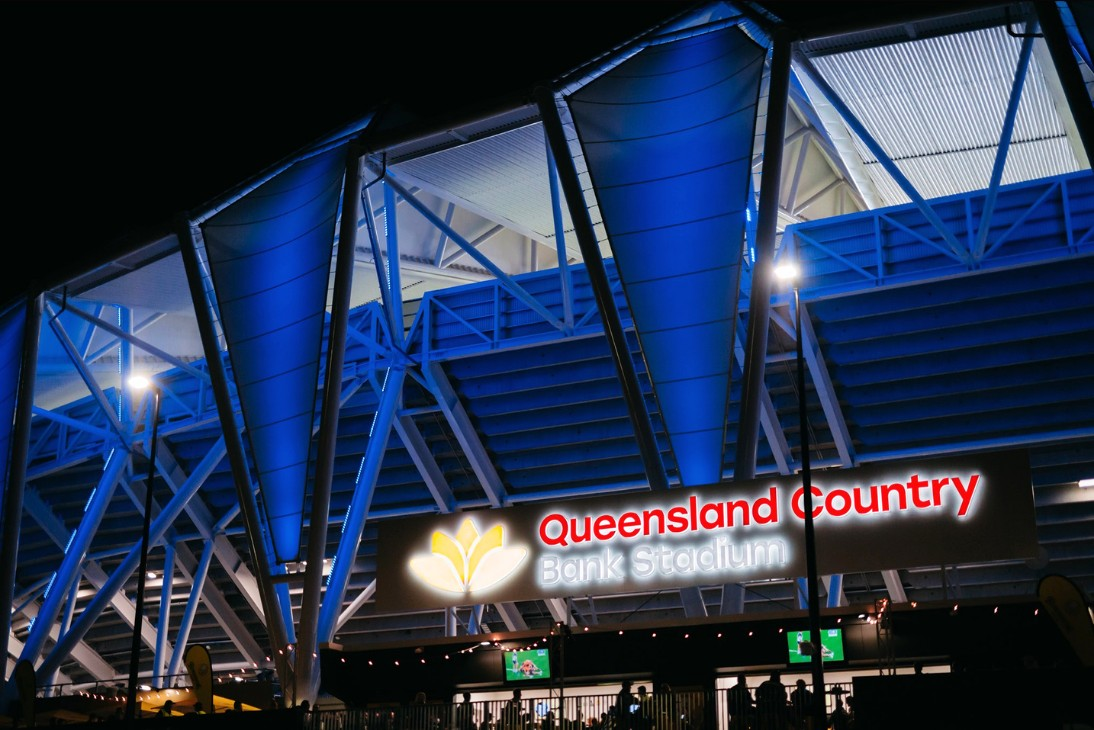 Queensland Country Bank Stadium LED Lights Blue
