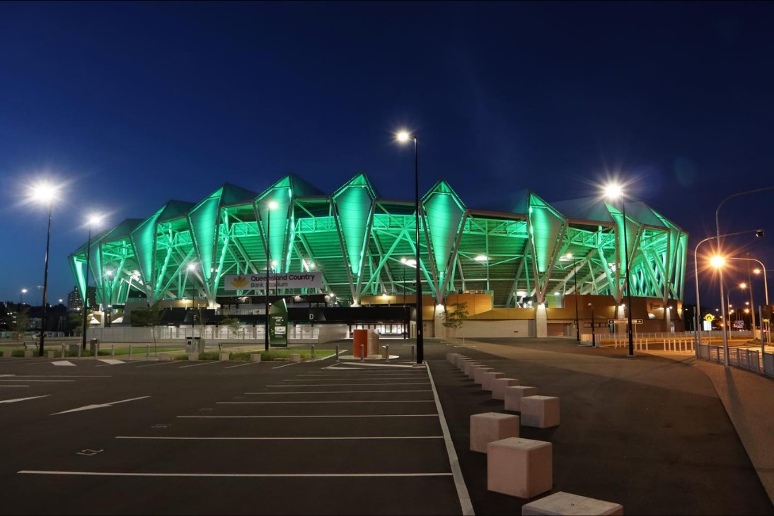 Queensland Country Bank Stadium LED Lights Green
