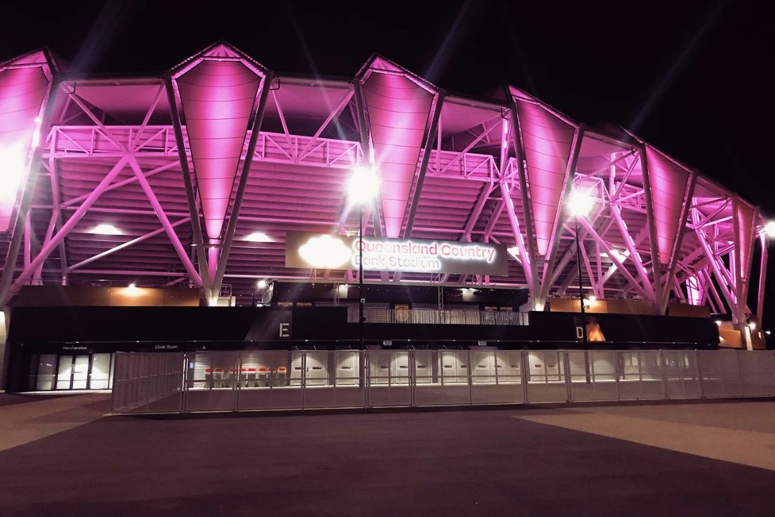 Queensland Country Bank Stadium LED Lights Pink