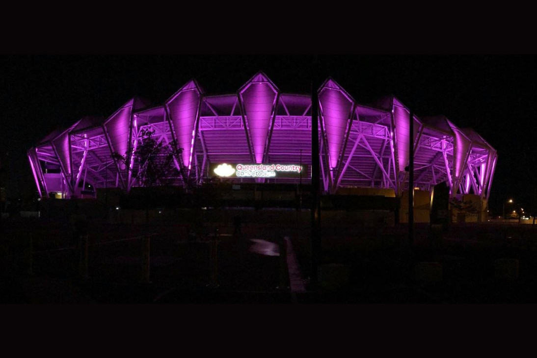 Queensland Country Bank Stadium LED Lights Purple